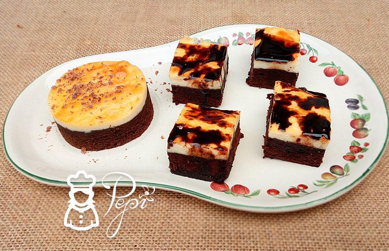 Brownie de chocolate y queso