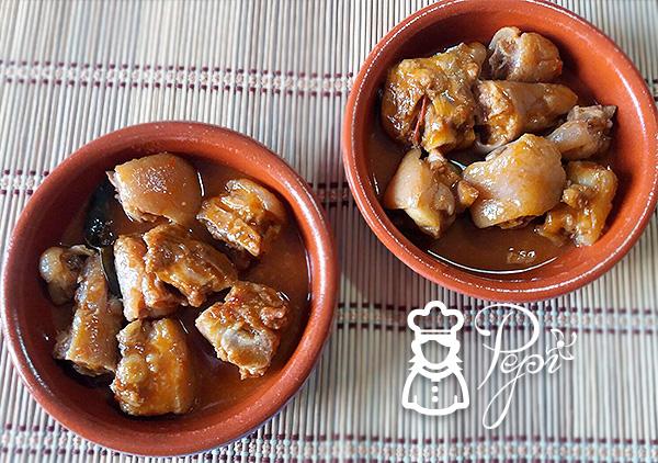 Rabitos de cerdo en salsa